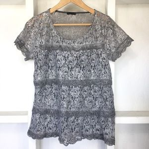 Motel Lace Sequin T-Shirt Made In Italy S/M